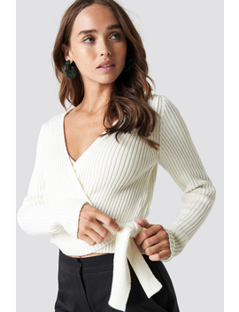 Overlap Ribbed Knitted Sweater Weiß by Na Kd