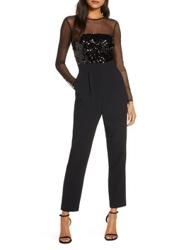 Sequin Bodice Long Sleeve Jumpsuit by Vince Camuto