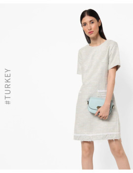 Textured Shift Dress With Frayed Hemline by Trendyol