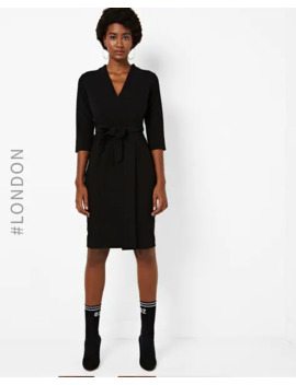 Panelled Wrap Around Dress With Tie Up by Closet London