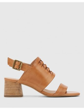 Devanti Tan Leather Plaited Front Blocked Heel Sandal by Wittner