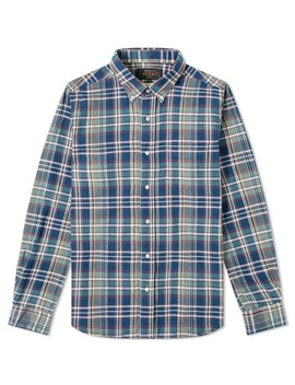 Beams Plus Button Down Indian Madras Shirt by Beams Plus
