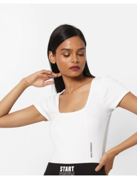 Textured Top With Placement Typographic Print by Tally W Ei Jl