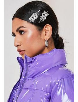 Silver Look Dragon Hair Slides by Missguided