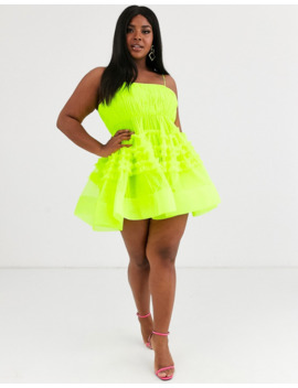 Lace &Amp; Beads Plus Tiered Mini Dress With Built In Bodysuit In Neon Lime by Lace & Beads
