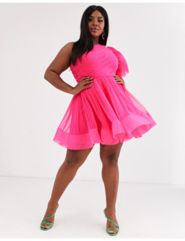 Lace &Amp; Beads Plus Puff Ball Sleeve Mini Prom Dress In Neon Pink by Lace & Beads