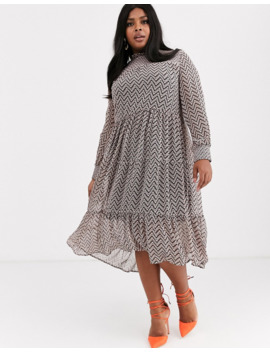 Simply Be Tiered Smock Dress With Zig Zag Chevron Print by Simply Be