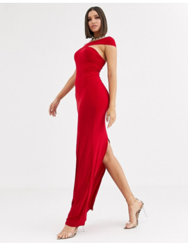 Club L London One Strap Shoulder Maxi Dress In Red by Club L
