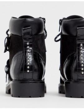 Asos Design Wide Fit Avenue Hiker Boots In Black by Asos Design