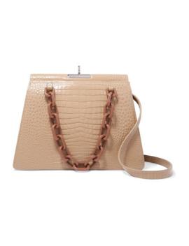 Two Tone Croc Effect Leather Shoulder Bag by Gu De