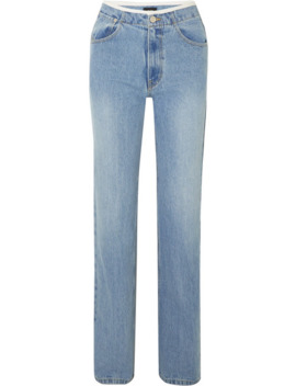 Faux Leather Trimmed Mid Rise Straight Leg Jeans by We11done