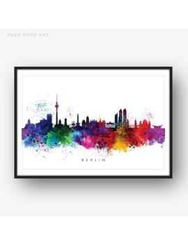 Berlin Skyline, Multicolor Watercolor Print, Home Decor, Art Print – Swber01 by Etsy