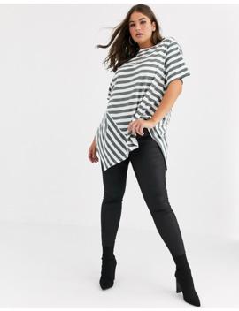 Simply Be Asymmetric T Shirt In Mono Stripe by Simply Be