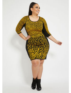 Animal Print Sweater Dress by Ashley Stewart