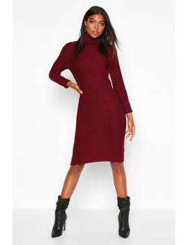 Tall Rib Knit Roll Neck Jumper Dress by Boohoo