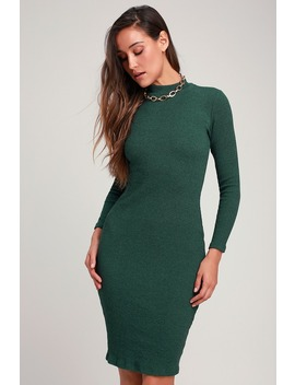 I Mist You Heather Dark Green Midi Sweater Dress by Lulus