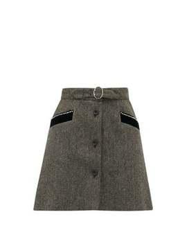 Crystal Embellished Wool Herringbone Mini Skirt by Miu Miu