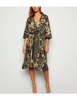 Blue Vanilla Black Satin Mixed Print Wrap Midi Dress by New Look