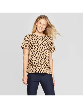 Women's Leopard Print Short Sleeve Round Neck Crepe T Shirt   A New Day™ Light Brown by A New Day
