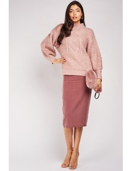 Mauve Midi Pencil Skirt by Everything5 Pounds
