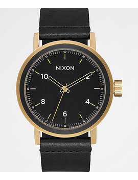 Nixon Stark Leather All Black &Amp; Gold Watch by Nixon Watches