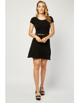 Metallic Belted Knit Skater Dress by Everything5 Pounds