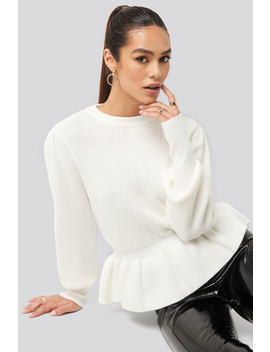Balloon Sleeve Frilled Sweater White by Hannaweigxnakd