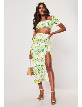 Yellow Lemon Print Milkmaid Top And Midaxi Skirt Co Ord Set by Missguided