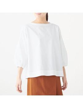 Xinjiang Cotton Washed Broadcloth Half Sleeve Blouse by Muji