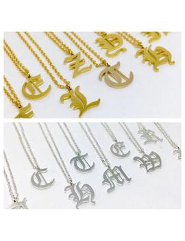 Gold / Silver Stainless Steel Old English Font Initial / Letter Unisex Necklace by Etsy