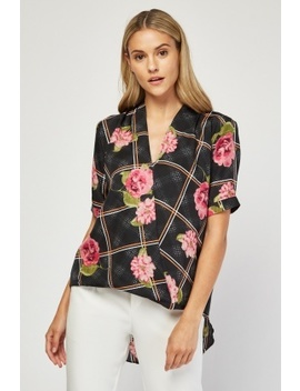 Flower Print Contrast Wrap Top by Everything5 Pounds