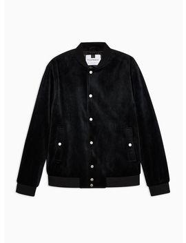 Black Velvet Bomber Jacket by Topman
