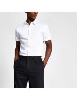 White Slim Fit Short Sleeve Premium Shirt by River Island