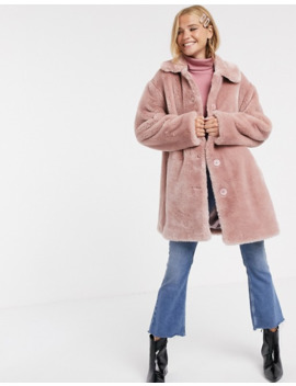 Asos Design   Manteau Boutonné En Fausse Fourrure   Rose by Asos Design