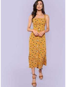 Button Front Floral Dress by Shein