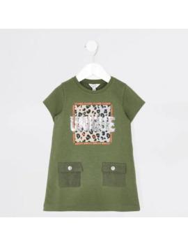 Mini Girls Khaki 'unique' T Shirt Dress by River Island