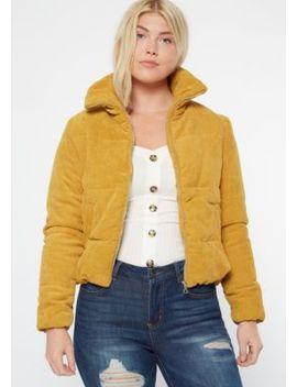 Mustard Corduroy Puffer Jacket by Rue21