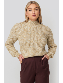 Multi Color Wide Rib Knitted Sweater Beige by Na Kd