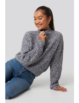Multi Color Wide Rib Knitted Sweater Blue by Na Kd