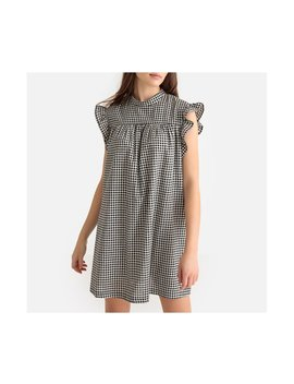 La Redoute Collections Womens Ruffled Gingham Babydoll Dress   Black Checks by La Redoute Collections