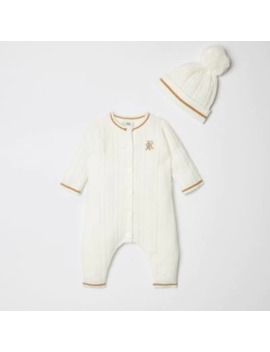 Baby Cream Knitted Baby Grow Outfit With Hat by River Island