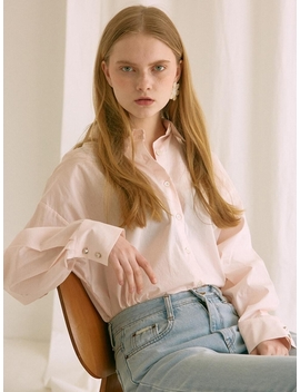 Ouie60 Back Slit Shirts Pink by Ouie