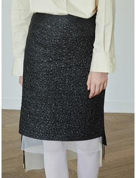 Crumpled String Skirt Black by Moontan