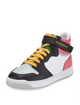 Duck Leather Colorblock High Top Sneaker, Toddler/Kids by Burberry