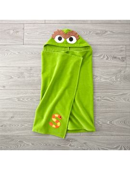 Sesame Street Oscar The Grouch Hooded Towel by Crate&Barrel