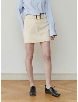 Corduroy Belt Skirt Cream by Moontan