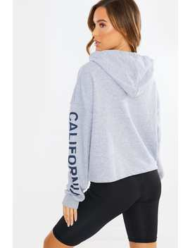 Grey Usa Slogan Cropped Hoodie by In The Style