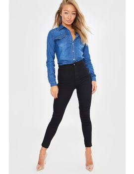 The Scorpio Black Super High Waist Tube Jeans by In The Style
