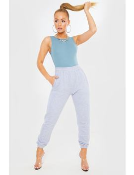 Blue Ribbed Plunge Back Bodysuit by In The Style