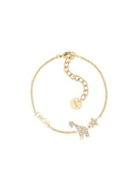 White Crystal Diorable Giraffe Gold Finish Bracelet by Dior